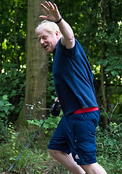 © Licensed to London News Pictures. 29/07/2020. London, UK. British Prime Minister BORIS JOHNSON is seen jogging on a public footpath near Chequers, his grace and favours country residence. PM Johnson has announced a government campaign to cut the country's obesity rates as part of its response for fight COVID-19. Photo credit: Ben Cawthra/LNP