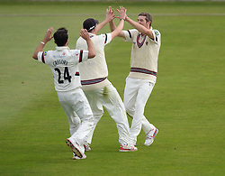 Somerset's Jamie Overton celebrates running out Hampshire  Jimmy Adams.  - Mandatory byline: Alex James/JMP - 07966386802 - 09/09/2015 - FOOTBALL -  - The County Ground - Taunton  - Somerset v Hampshire - LV CC -