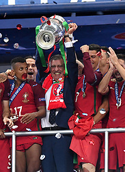 Portugal Manager Fernando Santos lift's the Henri Delaunay Trophy as Portugal celebrate Winning the Uefa European Championship   - Mandatory by-line: Joe Meredith/JMP - 10/07/2016 - FOOTBALL - Stade de France - Saint-Denis, France - Portugal v France - UEFA European Championship Final