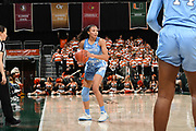 January 20, 2019: Stephanie Watts #5 of North Carolina in action during the NCAA basketball game between the Miami Hurricanes and the North Carolina Tar Heels in Coral Gables, Florida. The 'Canes defeated the Tar Heels 76-68.