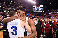 06 APR 2015:  Guard Grayson Allen (3) and Forward Justise Winslow (12) of Duke University embrace after their victory over the University of Wisconsin during the championship game at the 2015 NCAA Men's DI Basketball Final Four in Indianapolis, IN. Duke defeated Wisconsin 68-63 to win the national title. Brett Wilhelm/NCAA Photos