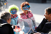 Girls wear masks during carnival time