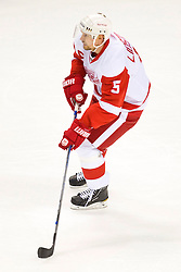 April 29, 2010; San Jose, CA, USA;  Detroit Red Wings defenseman Nicklas Lidstrom (5) against the San Jose Sharks during the first period of game one of the western conference semifinals of the 2010 Stanley Cup Playoffs at HP Pavilion. San Jose defeated Detroit 4-3. Mandatory Credit: Jason O. Watson / US PRESSWIRE