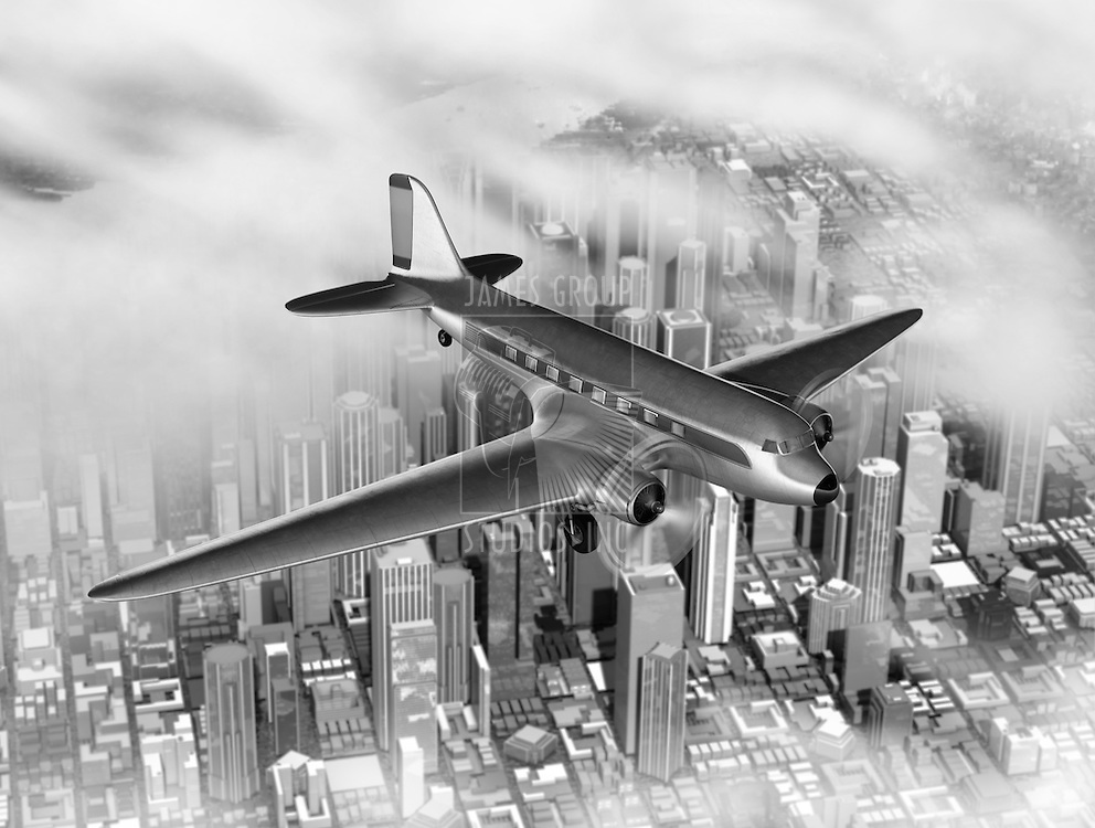 Vintage image of a DC-3 over a generic city created in 3D