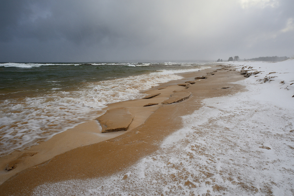 Lake Effect snow off Superior covers the beach at Au Train, Michigan's Upper Peninsula