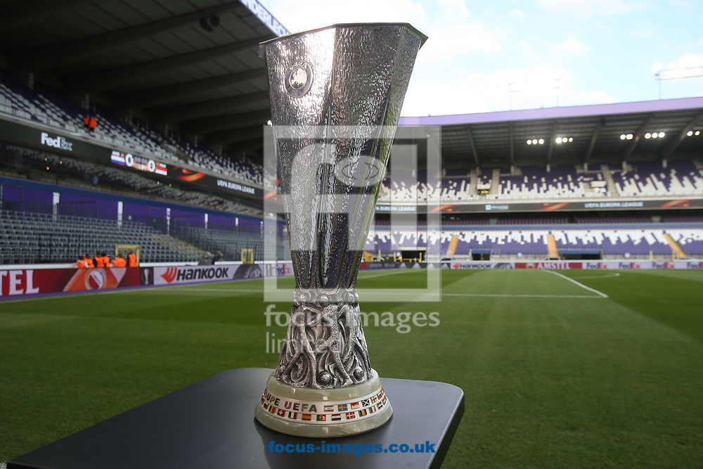 The UEFA Europa League Trophy before the UEFA Europa League match at Constant Vanden Stock Stadium, Anderlecht<br /> Picture by Paul Chesterton/Focus Images Ltd +44 7904 640267<br /> 13/04/2017