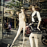 Mannequin is missing clothes and arms in shopping district, Hanoi, Vietnam