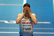 Chris O'Hare of Great Britain upset after he fails to make it through the 1500m heats at the  IAAF World Indoor Championships day three at the National Indoor Arena, Birmingham, United Kingdom on 3 March 2018. Photo by Martin Cole.