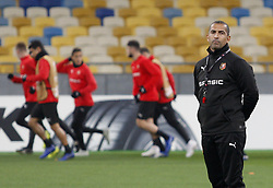 November 7, 2018 - Kiev, Ukraine - Rennes' French coach Sabri Lamouchi attends a training session of his team at the Olympiyskiy Stadium in Kiev, Ukraine, 08 November 2018. Rennes will play against Dynamo Kyiv at the UEFA Europa League Group K second-leg football match at the Olympiyskiy Stadium in Kiev, on November 08. (Credit Image: © Str/NurPhoto via ZUMA Press)