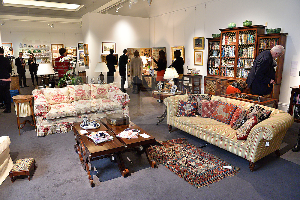 © Licensed to London News Pictures. 26/03/2016. Selection of furniture on display. The Duchess of Devonshire press preview at Sotheby's auction house.  The Duchess, Deborah Mitford, was the youngest surviving member of the six Mitford sisters, and died in September 2014. London, UK. Photo credit: Ray Tang/LNP
