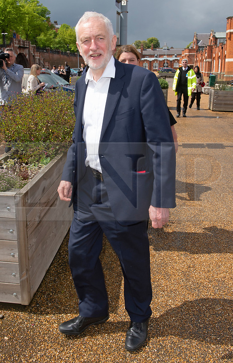 © Licensed to London News Pictures. 09/05/2019.<br /> Medway,UK. Jeremy Corbyn leaving the venue half an hour after his speech.  Labour leader Jeremy Corbyn launching the Labour Party's European election manifesto at University of Kent, Medway campus, Kent.Photo credit: Grant Falvey/LNP