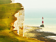 Beachy Head is a chalk headland and cliff overlooking  Beachy Head Lighthouse. It is located close to the costal resort of Eastbourne in the county of East Sussex< England.