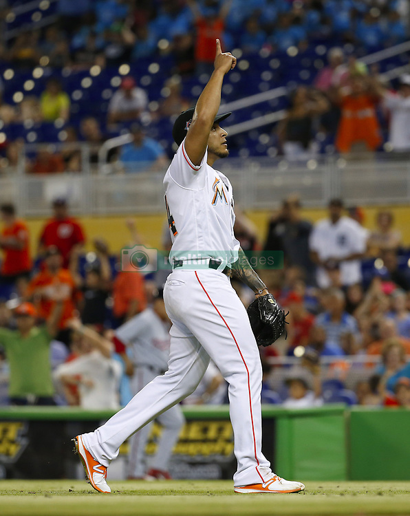 June 21, 2017 - Miami, FL, USA - Miami Marlins pitcher A.J. Ramos celebrates after a 2-1 win over the Washington Nationals on Wednesday, June 21, 2017 at Marlins Park in Miami, Fla. (Credit Image: © David Santiago/TNS via ZUMA Wire)