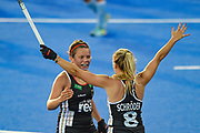 Charlotte Stapenhorst of Germany (12) celebrates a Germany winning the match  during the Vitality Hockey Women's World Cup 2018 Pool C match between Germany and Argentina at the Lee Valley Hockey and Tennis Centre, QE Olympic Park, United Kingdom on 25 July 2018. Picture by Martin Cole.