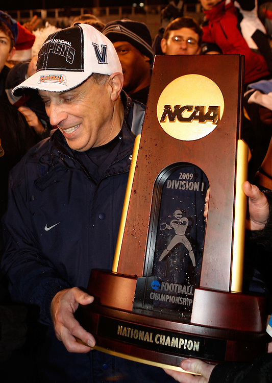 CHATTANOOGA, TN - DECEMBER 18:  Head coach Andy Talley of the Villanova Wildcats celebrates with the NCAA FCS Championship trophy after the game against the Montana Grizzlies at Finley Stadium on December 18, 2009 in Chattanooga, Tennessee.  The Wildcats beat the Grizzlies 23-21.  (Photo by Mike Zarrilli/Getty Images)