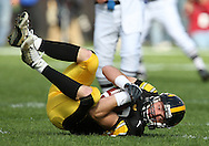 18 OCTOBER 2008: Iowa wide receiver Andy Brodell (80) pulls in a pass in the first half of an NCAA college football game against Wisconsin, at Kinnick Stadium in Iowa City, Iowa on Saturday Oct. 18, 2008. Iowa won 38-16.