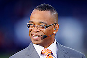 ESPN anchorman Stuart Scott smiles on the set of ESPN Monday Night Countdown prior to the Chicago Bears NFL regular season week 3 football game against the Green Bay Packers on September 27, 2010 in Chicago, Illinois. The Bears won the game 20-17. ©Paul Anthony Spinelli