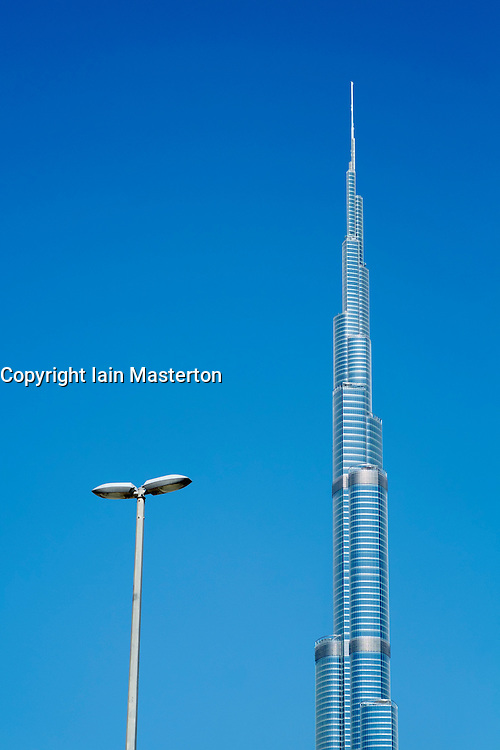 View of Burj Khalifa skyscraper the tallest structure in the world in Dubai United Arab Emirates UAE