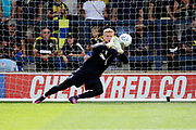 AFC Wimbledon goalkeeper George Long (1) warming up during the EFL Sky Bet League 1 match between AFC Wimbledon and Doncaster Rovers at the Cherry Red Records Stadium, Kingston, England on 26 August 2017. Photo by Matthew Redman.