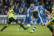 Steven Fletcher's (Sheffield Wednesday) ball inside is just tipped away by the defender, a critical interception that stops Fernando Forestieri (Sheffield Wednesday) having a clear shot on goal during the EFL Sky Bet Championship play off second leg match between Sheffield Wednesday and Huddersfield Town at Hillsborough, Sheffield, England on 17 May 2017. Photo by Mark P Doherty.
