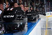 KELOWNA, CANADA - OCTOBER 13: Helmets on the bench on October 13, 2017 at Prospera Place in Kelowna, British Columbia, Canada.  (Photo by Marissa Baecker/Shoot the Breeze)  *** Local Caption ***