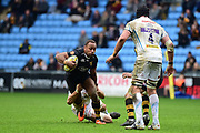 Wasps centre Gaby Lovobalavu takes a tackle during the Aviva Premiership match between Wasps and Exeter Chiefs at the Ricoh Arena, Coventry, England on 18 February 2018. Picture by Dennis Goodwin.