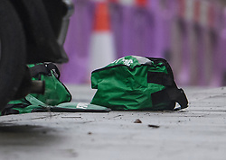 © Licensed to London News Pictures. 24/11/2019. London, UK. Medical equipment on the ground next to two cars involved in a collision, at the scene where a man has been found stabbed to death outside a west London train station. The attack follows a stabbing in Whitechapel on Saturday, in which another man in his 20s was killed. Photo credit: Ben Cawthra/LNP