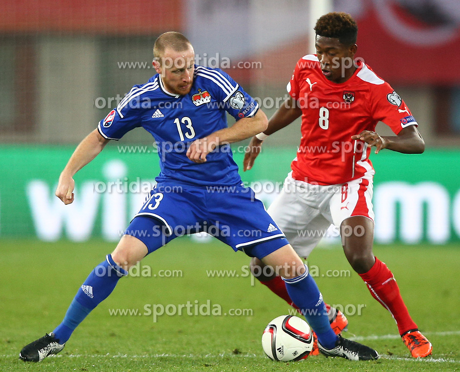 12.10.2015, Ernst Happel Stadion, Wien, AUT, UEFA Euro 2016 Qualifikation, Oesterreich vs Liechtenstein, Gruppe G, im Bild Martin Buechel (LIE) und David Alaba (AUT) // during the UEFA EURO 2016 qualifier group G between Austria and Liechtenstein at the Ernst Happel Stadion, Vienna, Austria on 2015/10/12. EXPA Pictures © 2015, PhotoCredit: EXPA/ Thomas Haumer