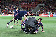 JOHANNESBURG, SOUTH AFRICA- Sunday 11 July 2010, Joan Capdevila gets medical treatment during the final between Spain The Netherlands (Holland) held at Soccer City in Soweto during the 2010 FIFA Soccer World Cup..Photo by Roger Sedres/Image SA