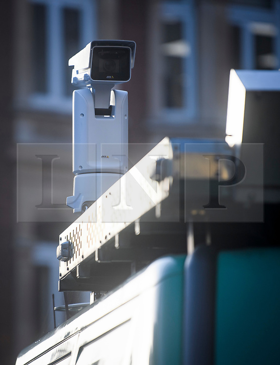 © Licensed to London News Pictures. 17/12/2018. London, UK. A camera mounted on a van as members of the Metropolitan police trial facial recognition technology on members of the public in central London. The surveillance software is being used overtly with a uniformed presence. Privacy campaigners have expressed concerns about the use of the technology. Photo credit: Ben Cawthra/LNP