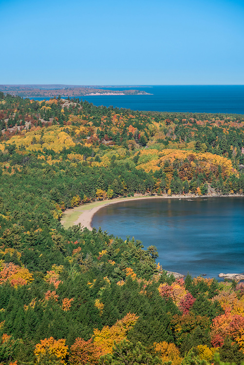 Fall color views from atop Sugarloaf Mountain lookout near Marquette, Michigan.