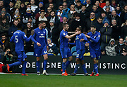 Goal celebration by Cardiff City midfielder Junior Hoilett (33) during the EFL Sky Bet Championship match between Leeds United and Cardiff City at Elland Road, Leeds, England on 3 February 2018. Picture by Paul Thompson.
