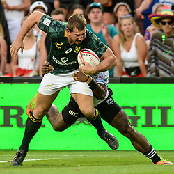 Action from the 2018 HSBC World Sevens Series Hamilton final match between South Africa and Fiji at FMG Stadium in Hamilton, New Zealand on Sunday, 4 February 2018. Photo: Sarah Lord / lintottphoto.co.nz