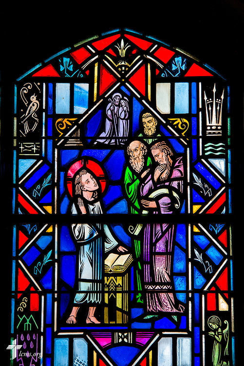 Stained glass at Luther Memorial Chapel depicting Jesus in the temple, Luke 2:46, on Friday, Jan. 29, 2016, in Shorewood, Wis. LCMS Communications/Erik M. Lunsford