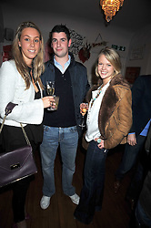 Left to right, MELISSA MILLS, THEO OSBORNE brother of George osborne MP and GEORGIE KILLIK at a party to celebrate the opening of Barts, Sloane Ave, London on 26th February 2009.