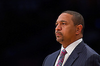 09 November 2012: Head coach Mark Jackson of the Golden State Warriors coaches during the Lakers 101-77 victory over the Warriors at the STAPLES Center in Los Angeles, CA.