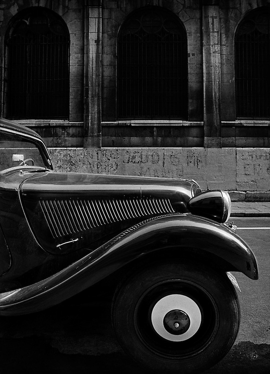 The Citro&euml;n Light 15, Paris. <br /> <br /> Introduced in the 1930's it was also known as the Traction Avant and sometimes called 'The Maigret Car'.<br /> <br /> It went on to become one of the great success stories of this era, becoming synonymous with the Resistance in WW2, as well as pre- and post-war Parisian streets and more than any other has defined the cars that we drive today.