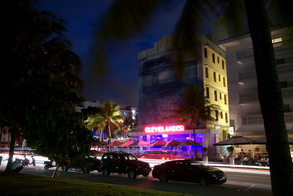 The Clevelander at Night in Ocean Drive, The Clevelander is one of the most popular places in Miami Beach.