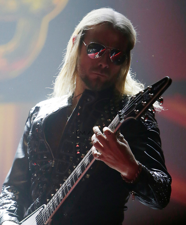 Richie Faulkner of Judas Priest performs on Tuesday, April 24, 2018, in Phoenix, Arizona. (AP Images/Rick Scuteri)