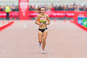 Lily Partridge (Great Britain) approaching the finish line in the Women's Elite race, during the Virgin Money 2019 London Marathon, London, United Kingdom on 28 April 2019.