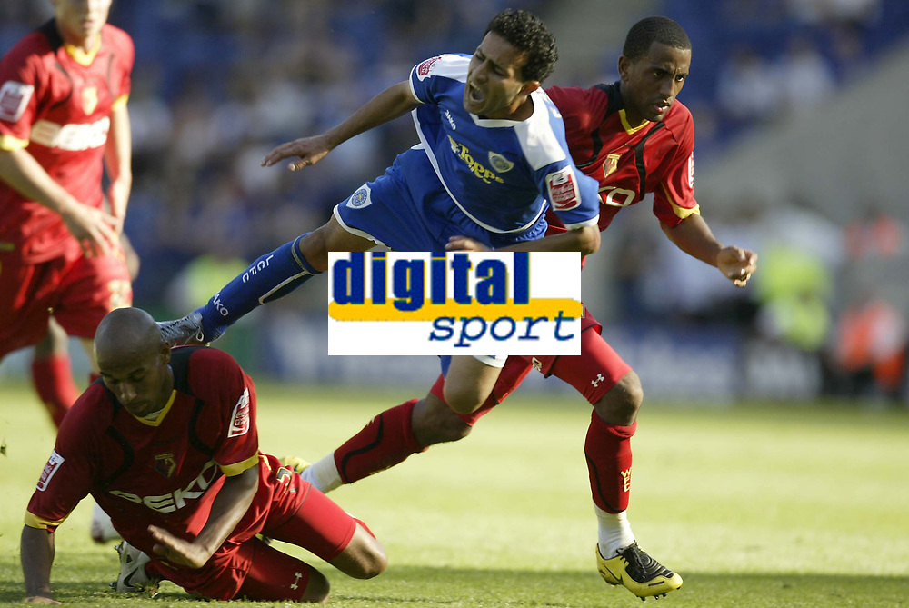 Photo: Aidan Ellis.<br /> Leicester City v Watford. Coca Cola Championship. 25/08/2007.<br /> Leicester's Hossein Kaebi is sent flying by Watford's Jordan Stewart