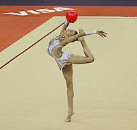 LONDON - JANUARY 18:  Visa International Rhythmic Gymnastics - Ball Individual All Round Final - London 2012 Olympics Test Event at the North Greenwich Arena, London, UK on January 18, 2012. (Photo by Richard Goldschmidt)