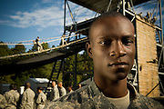 U.S. Army Private Antonio Parker prepares to repel down a tower during basic military training at Fort Jackson, S.C., on October 23, 2008.