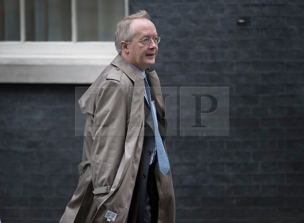 © Licensed to London News Pictures. 31/01/2017. London, UK. Myron Ebell, US President Trump's environment advisor, talks to an aide as he leaves number 10 Downing Street after meeting with government officials.  Photo credit: Peter Macdiarmid/LNP