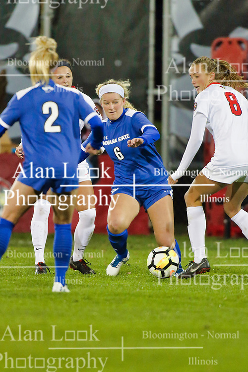 NORMAL, IL - October 17:  Pam Silies during an NCAA Missouri Valley Conference (MVC)  women's soccer match between the Indiana State Sycamores and the Illinois State Redbirds October 17 2018 on Adelaide Street Field in Normal IL (Photo by Alan Look)