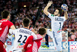Romain Lagarde of France during handball match between National teams of Croatia and France on Day 7 in Main Round of Men's EHF EURO 2018, on January 24, 2018 in Arena Zagreb, Zagreb, Croatia.  Photo by Vid Ponikvar / Sportida