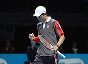 Japan's Kei Nishikori clenches his fist during the Barclays ATP World Tour Finals at the O2 Arena, London, United Kingdom on 13th November 2014 © Phil Duncan | Pro Sports Images