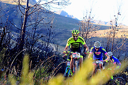 WELLINGTON SOUTH AFRICA - MARCH 23: Riders jostle for position during stage five's 39km time trial on March 23, 2018 in Wellington, South Africa. Mountain bikers gather from around the world to compete in the 2018 ABSA Cape Epic, racing 8 days and 658km across the Western Cape with an accumulated 13 530m of climbing ascent, often referred to as the 'untamed race' the Cape Epic is said to be the toughest mountain bike event in the world. (Photo by Dino Lloyd)