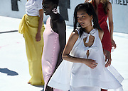 The Rosie Assoulin collection is presented during Fashion Week, Friday, Sept. 11, 2015, at the Tony Dapolito Recreation Center in New York.  (AP Photo/Diane Bondareff)