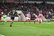 Forest Green Rovers Jack Aitchison(29), on loan from Celtic shoots at goal scores a goal 0-1 during the EFL Sky Bet League 2 match between Cheltenham Town and Forest Green Rovers at Jonny Rocks Stadium, Cheltenham, England on 2 November 2019.